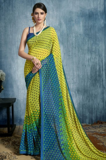 Admirable Yellow Georgette Casual Printed Saree With Georgette Blouse
