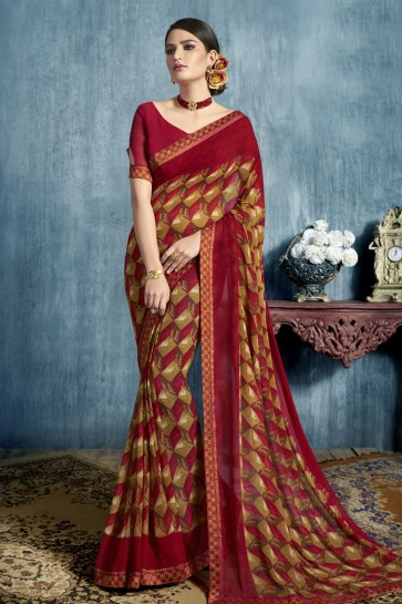 Desirable Maroon Georgette Printed Casual Saree With Georgette Blouse