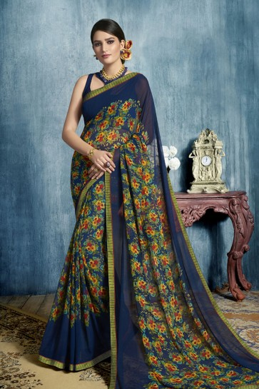 Stylish Navy Blue Georgette Casual Printed Saree With Georgette Blouse