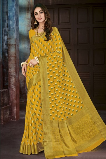 Jacquard Work Yellow Chiffon Party Wear Saree