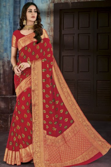 Red Chiffon Jacquard Work Party Wear Saree