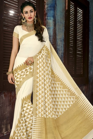 Ultimate Off White Chiffon Jacquard Work Party Wear Saree