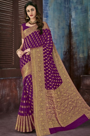 Desirable Purple Chiffon Jacquard Work Party Wear Saree