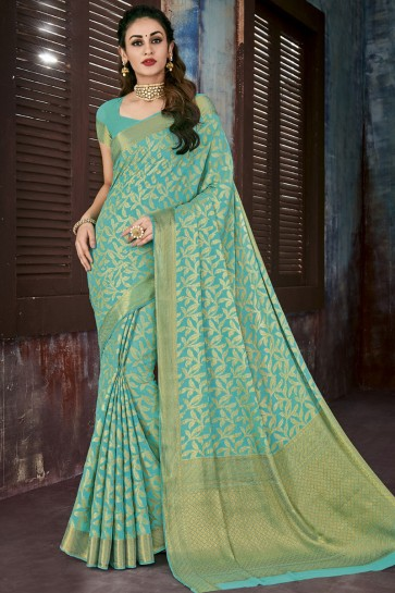 Turquoise Chiffon Jacquard Work Party Wear Saree