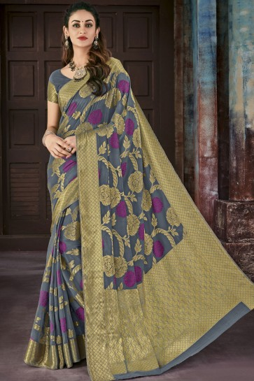 Jacquard Work Grey Chiffon Party Wear Saree