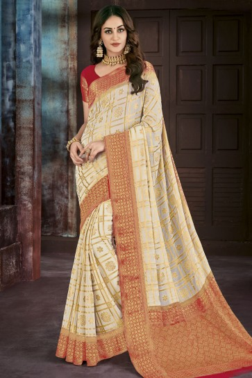 Off White Chiffon Jacquard Work Party Wear Saree
