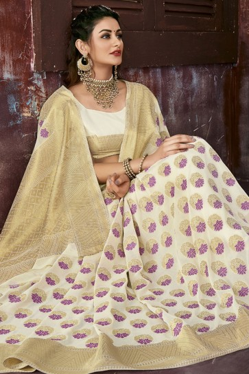 Supreme Off White Chiffon Jacquard Work Party Wear Saree