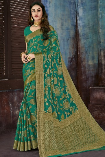 Admirable Green Chiffon Jacquard Work Party Wear Saree