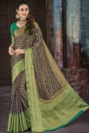 Classic Blue and Green Chiffon Jacquard Work Party Wear Saree