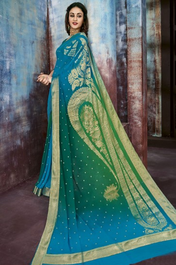 Blue and Green Chiffon Jacquard Work Party Wear Saree