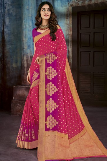 Classic Pink Chiffon Jacquard Work Party Wear Saree