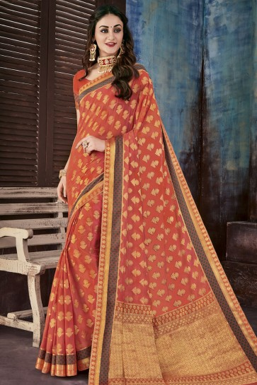 Optimum Orange Chiffon Jacquard Work Party Wear Saree