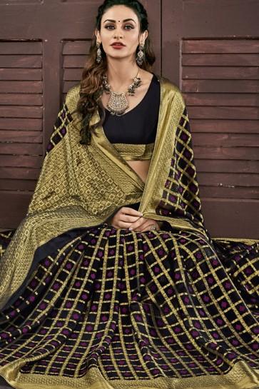 Beautiful Black Chiffon Jacquard Work Party Wear Saree