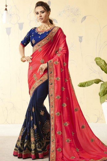Red and Navy Blue Georgette Designer Embroidered Saree With Silk Blouse