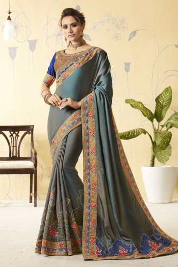 Classic Grey Silk Designer Embroidered Saree With Silk Blouse