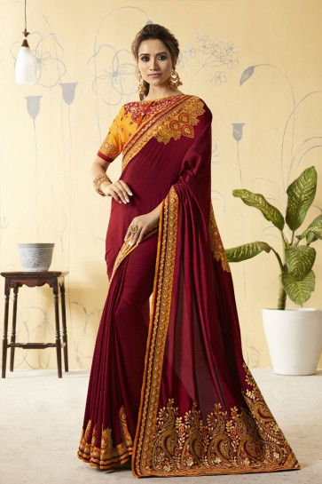 Maroon Silk Embroidered Designer Saree With Silk Blouse