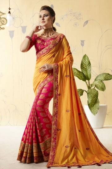 Pink and Orange Silk Designer Embroidered Saree With Silk Blouse