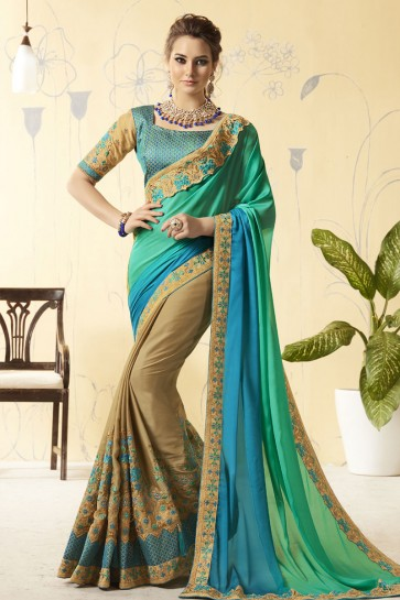 Turquoise and Biege Silk Embroidered Designer Saree With Brocade Blouse