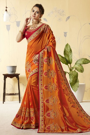 Orange Silk Embroidered Designer Saree With Silk Blouse