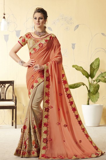 Supreme Peach and Beige Silk Designer Embroidered Saree With Silk Blouse