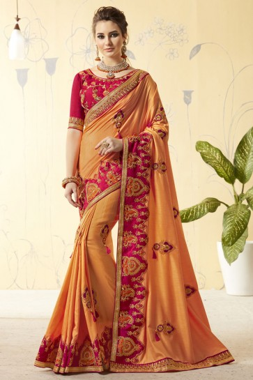 Ultimate Orange Silk Designer Embroidered Saree With Silk Blouse