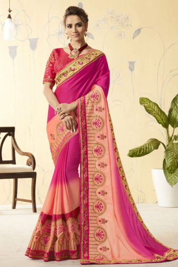 Magenta and Peach Silk Embroidered Designer Saree With Brocade Blouse