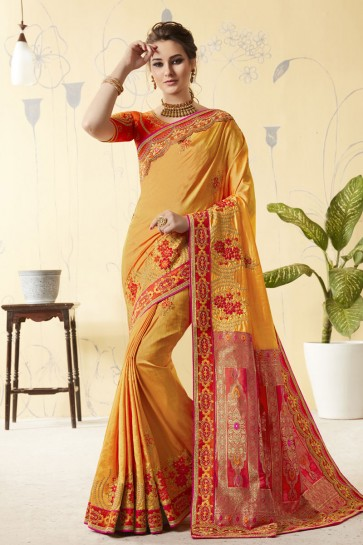 Yellow Silk Designer Embroidered Saree With Silk Blouse