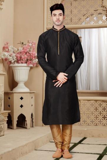 Graceful Black Art Silk Designer Kurta Pajama