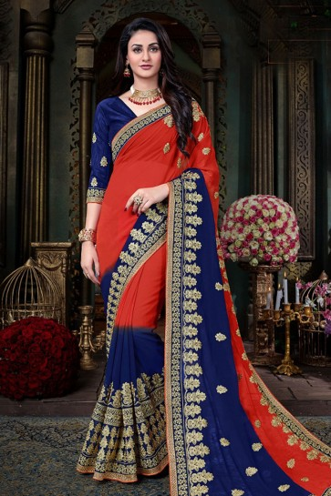 Red and Navy Blue Georgette Designer Zari Work Saree With Banglori Silk Blouse
