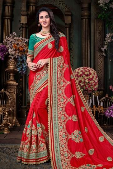 Red Art Silk Designer Zari Work Saree With Banglori Silk Blouse