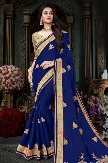 Navy Blue Georgette Designer Zari Work Saree With Banglori Silk Blouse