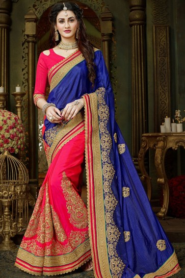 Excellent Navy Blue and Pink Art Silk Designer Zari Work Saree With Banglori Silk Blouse