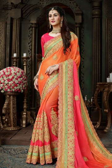 Orange and Pink Chiffon Designer Zari Work Saree With Banglori Silk Blouse