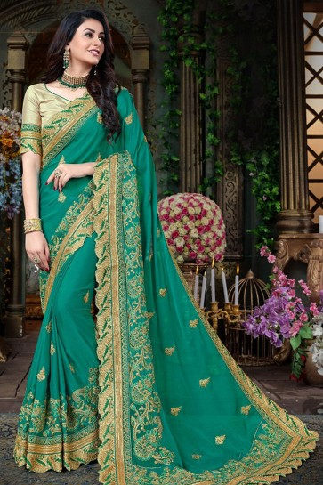 Turquoise Georgette Designer Zari Work Saree With Banglori Silk Blouse