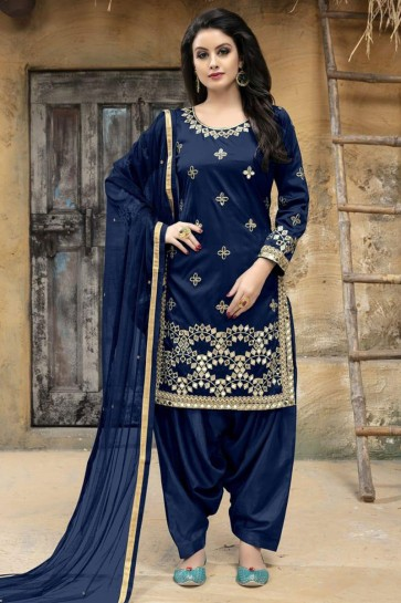 Embroidered Navy Blue Silk Patiala Salwar Suit With Net Dupatta