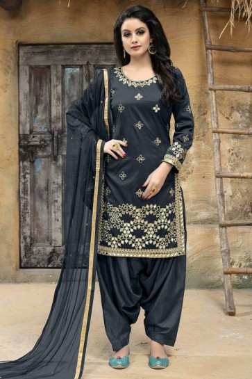 Grey Silk Embroidered Patiala Salwar Suit With Net Dupatta