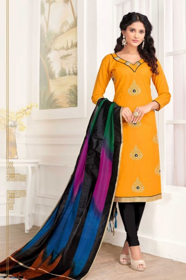Yellow Cotton Embroidered Casual Salwar Suit