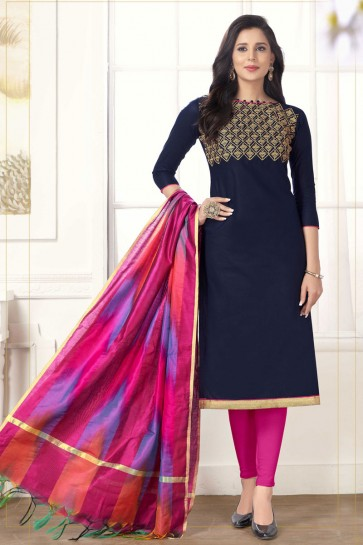 Lovely Navy Blue Embroidered Casual Salwar Suit With Silk Dupatta