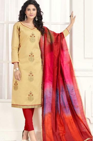 Gorgeous Beige Cotton Designer Embroidered Casual Salwar Suit