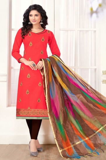 Beautiful Red Cotton Embroidered Casual Salwar Suit With Silk Dupatta