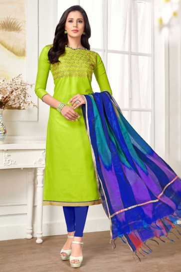 Green Cotton Embroidered Casual Salwar Suit
