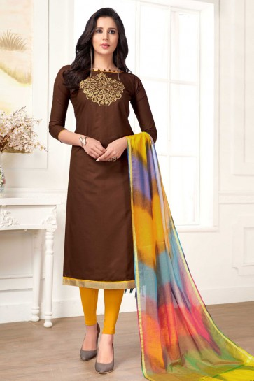 Ultimate Brown Cotton Designer Embroidered Casual Salwar Suit With Silk Dupatta