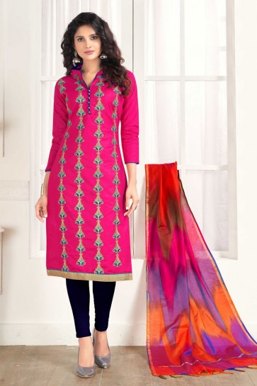 Excellent Pink Cotton Embroidered Casual Salwar Suit With Silk Dupatta