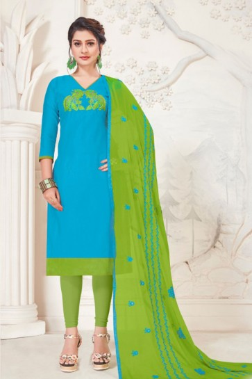 Embroidered Sky Blue Silk Casual Salwar Suit With Net Dupatta