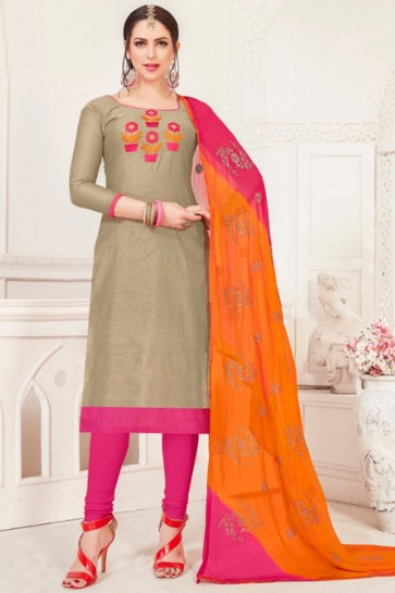 Grey Silk Embroidered Casual Salwar Suit With Net Dupatta