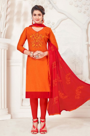 Pretty Orange Silk Embroidered Casual Salwar Suit With Net Dupatta