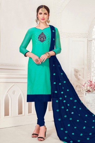 Turquoise Designer Embroidered Casual Salwar Suit With Net Dupatta