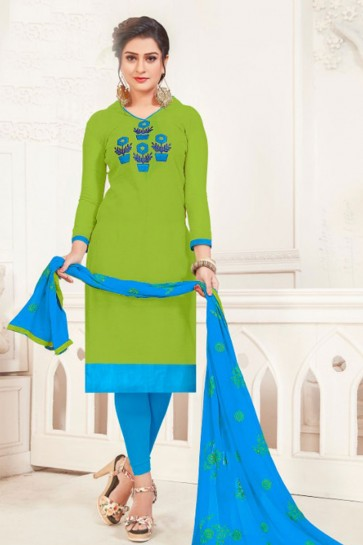 Embroidered Green Silk Casual Salwar Suit With Nazmin Dupatta