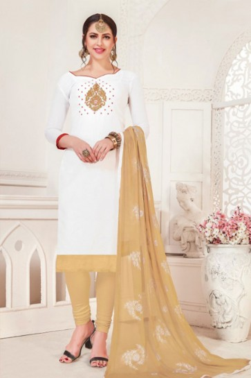 Charming White Silk Designer Embroidered Casual Salwar Suit With Net Dupatta