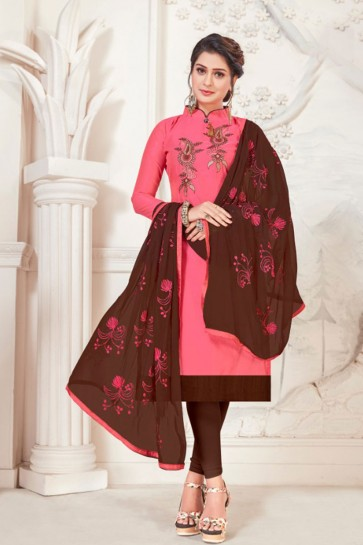 Pink Silk Embroidered Casual Salwar Suit With Net Dupatta